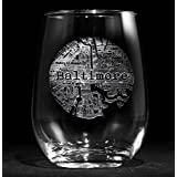 Street Maps Stemless Wine Glass, Hometown City Etched Wine Glass - One Glass - (map)
