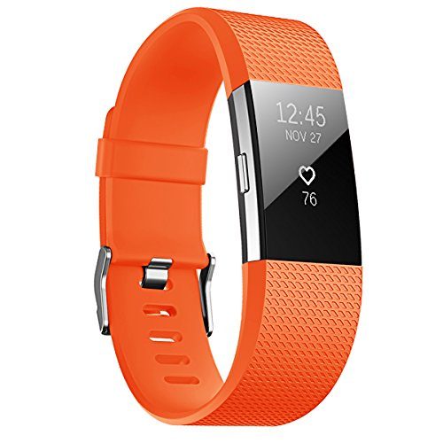 JUNYI Fitbit Charge 2 Bands ,Classic Sports Watch Adjustable Replacement Comfortable Bands for Fitbit Charge 2 Fitness Smart Wristbands Strap (orange small)