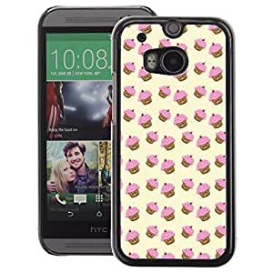 A-type Arte & diseño plástico duro Fundas Cover Cubre Hard Case Cover para HTC One M8 (Muffin Cupcake Yellow Pink Pattern Cute)
