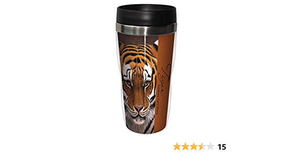 Amazon Com Siberian Tiger Travel Mug Stainless Lined Coffee Tumbler 16 Ounce Jeremy Paul Cute Gift For Big Cat Zoo Lovers Tree Free Greetings Kitchen Dining
