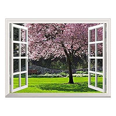 Wonderful Creative Design, With a Professional Touch, Removable Wall Sticker Wall Mural Cherry Blossom in Spring Creative Window View Wall Decor