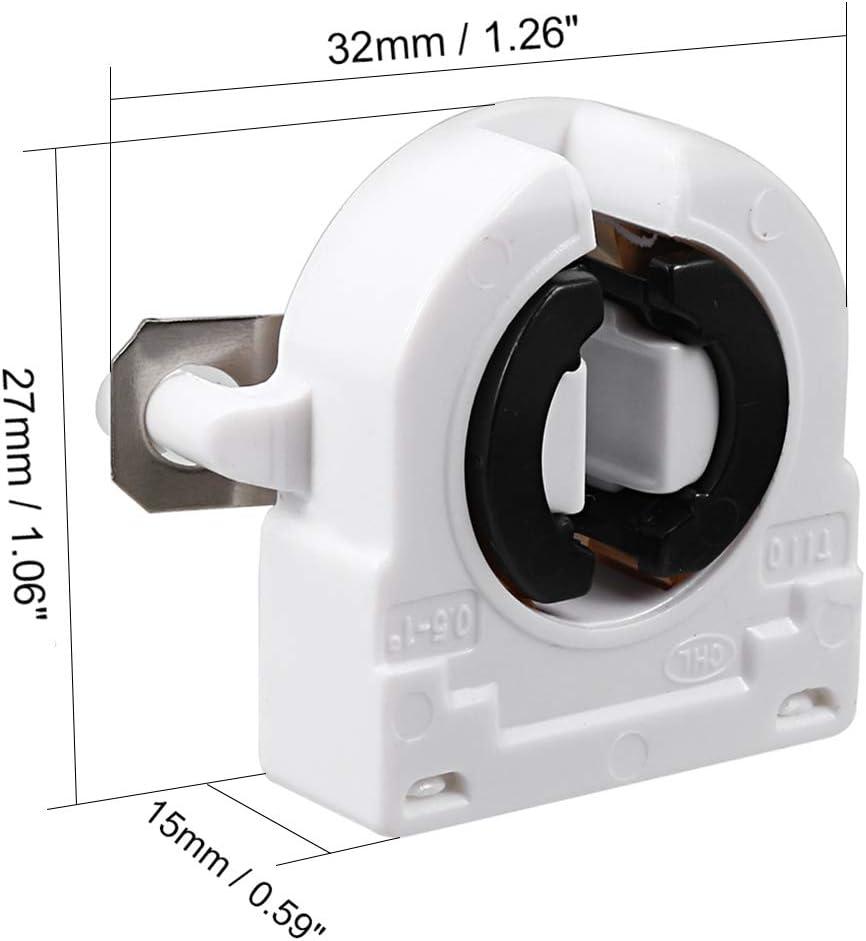 sourcing map 2Pcs 2A G5-F288 T5 Light Socket G5 Base Fluorescent Lamp Holder White