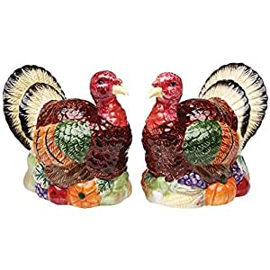 Colorful Thanksgiving Turkey 2 PC Set Salt And Pepper Shakers.