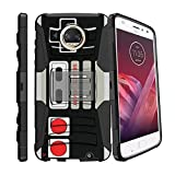 MINITURTLE Case Compatible w/ Hybrid Bumper Case for [Motorola Moto Z2 Play | Moto Z2 Force [XT1710] 2017] [Clip Armor] Rugged Hard Shell Case w/ Stand and Holster Game Controller Retro Review