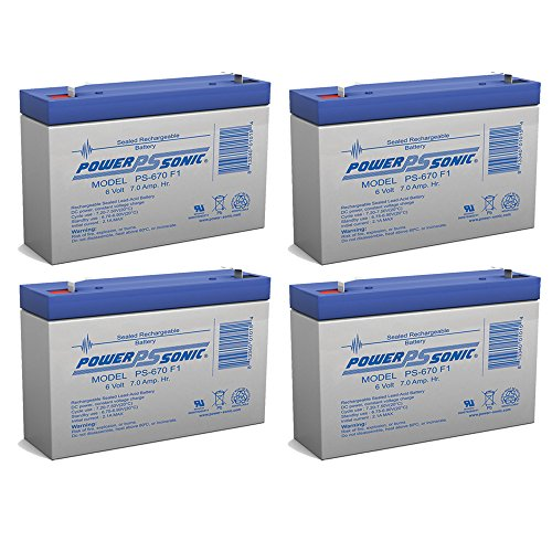 PS-670 - 6V 7Amp SLA Battery - 4 Pack by Powersonic