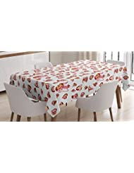 Kitchen Tablecloth By Ambesonne Tea Cups Teapot Hearts Doodle Style Vibrant Coffee Invitation Themed Design Dining Room Kitchen Rectangular Table Cover 52W X 70L Inches Baby Pink Red