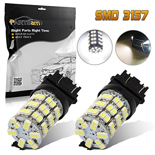 (Pack of 2) Partsam 3056 3156 3057 3157 White 60-SMD LED Bulbs Parking Backup Reverse Lamp Brake Tail Lights Bulb (97 Tail Light Lamp Wagon)