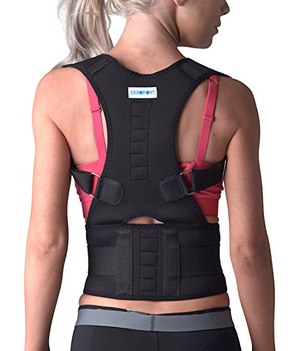 Back Brace Posture Corrector I for Youth, Men and Woman I Reduce Upper and Lower Back Pain I Stabilize Spine I Adjustable Straps (Medium (125-140lbs)) by EXXOPORT (Image #5)