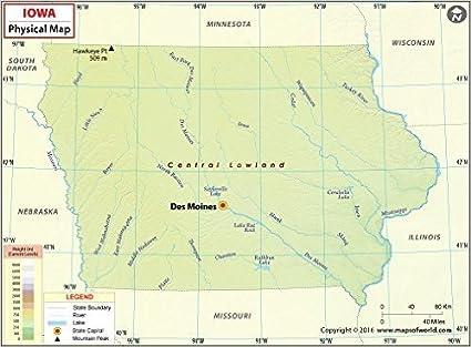 Amazon.com : Iowa Physical Map (36