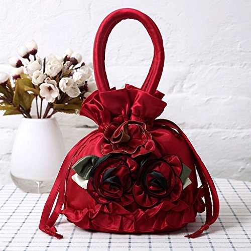 Petit Soie Main Femmes À Sac Cadeau Rouge à Portefeuille Fleur Satin Sac JAGENIE Brodé Coin Royalblue Nouvelles Main Sac qIxZ7nwp