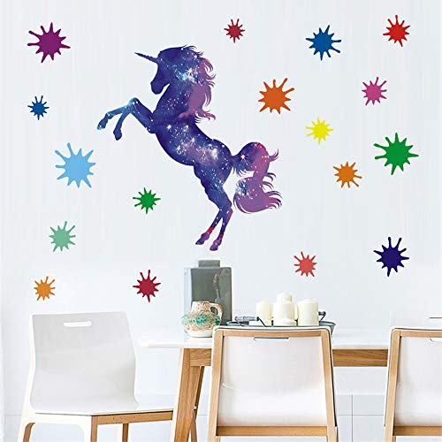 BUCKOO Dream Sky Purple Unicorn Wall Decal,Multicolor Paint Splotches Wall Sticker,3D Art Decal Sticker Child Room Nursery Wall Home Decor