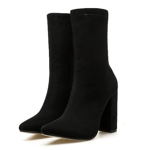Manadlian Botas Mujer Invierno, 2018 Botines de Mujer Club Nocturno Zapatos Puntiagudos Hilo elástico Zapatos de tacón Grueso Tacones Altos Botas: ...