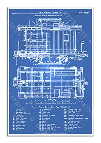 C. B. Gitty 1909 Erie Railroad 4-Wheel Trail Caboose Blueprint Poster (Blue)