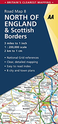 North of England & Scottish Borders Road Map (AA Road Map Britain) (Aa Road Map)