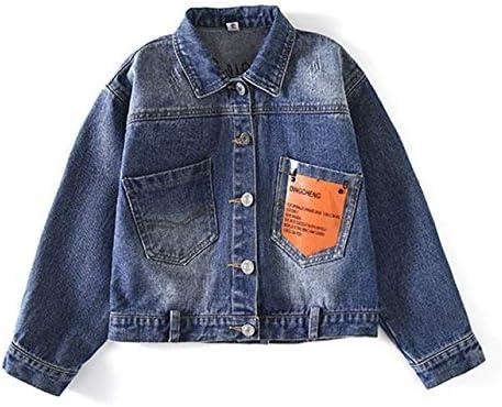 LEEFTM Chaqueta Vaquera De Primavera Y Otoño para Niñas Camisa De Moda para Niños De Otoño Chaqueta De Otoño para Niños Grandes Gas Extranjero,Blue-5-6Years(130): Amazon.es: Hogar