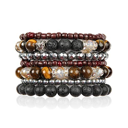 Bohemian Lava Stone Essential Oil Diffuser Multi Strand Layer Bracelet - Healing Aroma Therapy Beaded Natural Volcano Rock Stretch Bangles Lotus, Hematite ([L-XL] Layer Mix - Tiger's Eye)