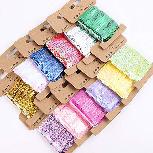 (Paillettes Sequins Trim 12Pcs Spangle Flat Sequins Trim Glitter Sequin String Ribbon Roll for Crafts, DIY Projects, Embellishments, Womens Clothes, 5mm, 60 Yard (A))
