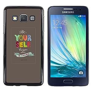 FECELL CITY // Duro Aluminio Pegatina PC Caso decorativo Funda Carcasa de Protección para Samsung Galaxy A3 SM-A300 // Yourself Quote Text Motivational