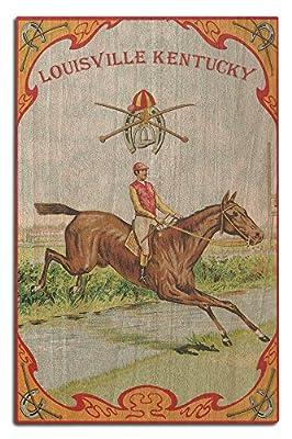 Louisville, Kentucky - Jockey Brand Cigar Box Label - Horse Racing (Wood Wall Sign, Wall Decor Ready to Hang)