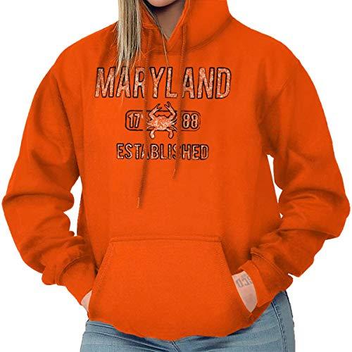 (Brisco Brands Maryland State Pride T Shirt State Flag USA Crab Shirt Gift Hoodie Orange)
