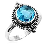 Simulated Stone 8x8mm Round & .925 Silver Overlay Handmade Fashion Rings