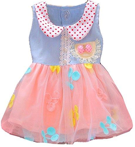 Baby Girls Cute Child Flowers Denim Bow Children Dress 6-12 Months Pink