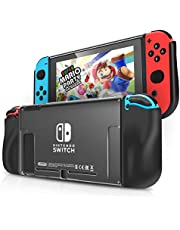 Funda Almacenamiento Protectora para Nintendo Switch IDESION Funda de TPU Suave y Ergonómica Antiarañazos Kit de Accesorios Nintendo - Negro