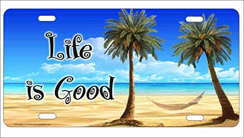 (ATD Life is Good Tropical Beach Scene Palm Trees and Hammock Personalized Novelty Front License Plate Decorative Vanity car tag can Also be Used as a Door Sign)