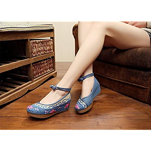 best ZYZF Women Chinese Casual Embroidered Dancewear Oxfords Rubber Sole Mary Jane Dance Flat Shoes