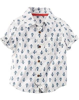 Carter's Boys Poplin Button-Front Shirt, White, 12m [Apparel]