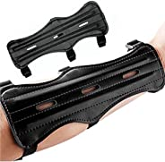 prowithlin Archery Arm Guard, Archery Bracer/Archery Cowhide Leather Forearm Protector w/Bow Range with 3-Stra