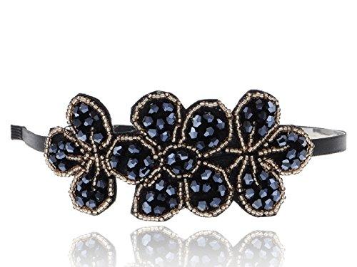 Alilang Contemporary Black Rhinestone Golden Bead Accented Fashion Headband -