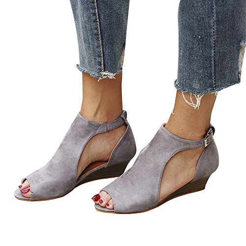 Faionny Womens Shoes Platform Wedge Sandals Ankle Boots Strap Peep Toe Shoes Fish Mouth High Heels Flat Single Shoes Gray