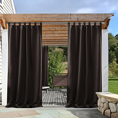 Panel Pony Door (PONY DANCE Patio Outdoor Curtain Drapes Panels Tab Top Thermal Insulated Home Decoration Curtains/Window Shades for Front Gazebo, 52 x 84 Inch, Brown, Set of 1)