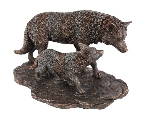 Mother Wolf and Pup Statues