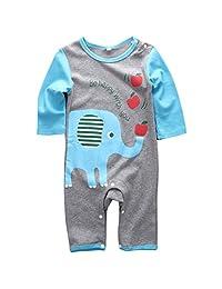 Infant Boys Girls Animal Pattern Print Long Sleeve Romper Onesie for 0-18months