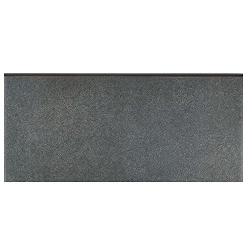 "SomerTile FRC8TWBB Fifties Ceramic Bullnose Floor and Wall Trim Tile, 3.5"" x 7.75"", Black"
