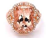 LeVian Peach Morganite Ring Chocolate and Vanilla Diamonds 5.60 cttw 18K Rose Gold Size 7 1/4