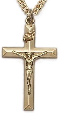 1 1//4 Inch 14K Gold Filled Catholic Cross Crucifix Pendant in Beveled Design