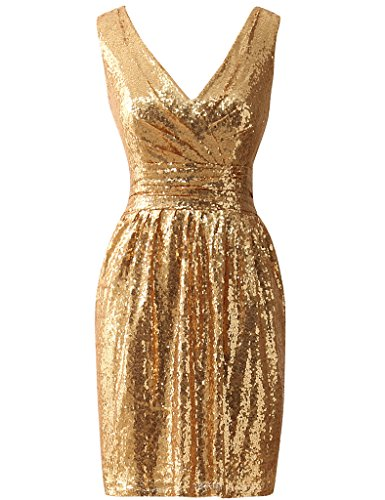 Amazon.com: JAEDEN Simple Gold Bridesmaid Dresses Short Sequin Dress for Prom Party Cocktail Homecoming Gown Gold XXL: Clothing