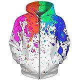 UkEdNs 3D Men Hoodies Zip Up Splatter Color Paint Stains 3D Print Streetwear Casual Jacket Men Women Outwear 06 S