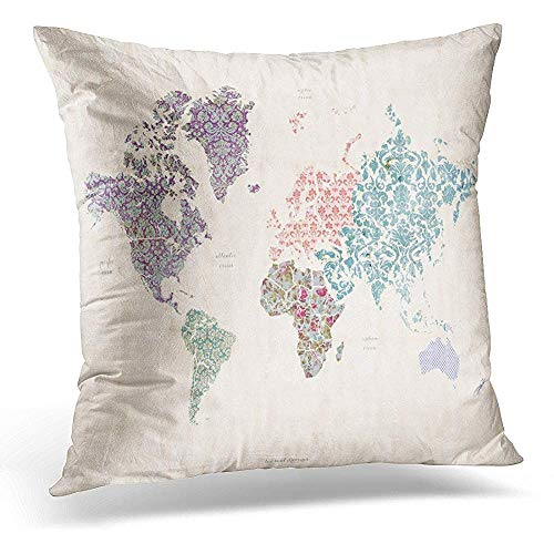 Throw Pillow Covers Vintage World Map on Linen Canvas with Whimsical Quilt Detail Asia Australia Decorative Pillow Case Home Decor Square 18x18 Inches Pillowcase