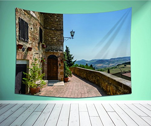 Mason Dining Bench (Avamam Tapestry Wall Art Italian Decor The Walls Of Pienza In Tuscany Historical European Landmark Light Brown Green Light Blue Dining Room K Wall Hanging For Bedroom Living Room Dorm Size-60
