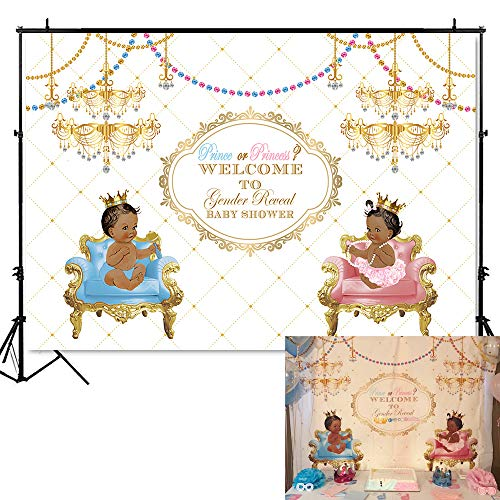 Mehofoto Gender Reveal Baby Shower Backdrop Prince or Princess Background 7x5ft Vinyl Blue or Pink Baby Shower Gender Reveal Party Banner Decoration]()