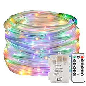 LE 33ft 120 LED Dimmable Rope Lights, RGB Battery Powered, Waterproof, 8 Modes/Timer, Multi Color Fairy Rope Lights for Garden Patio Party Christmas Thanksgiving Outdoor Decoration