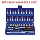 euronovità en-28884 Ratchet Combination Spanners Set 45 Pieces, Screwdrivers, Socket with Inserts, Hand Tools for Work