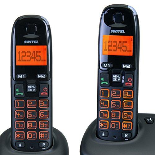SWITEL DC5002 DECT Negro - Teléfono (Teléfono DECT, Altavoz, 50 entradas, Negro): Amazon.es: Electrónica