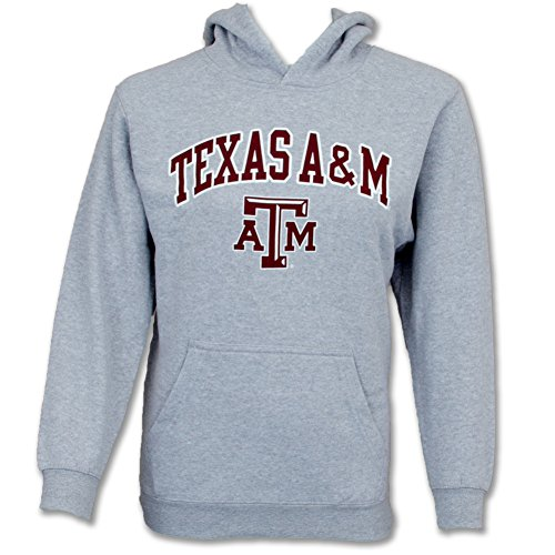 Elite Fan Shop Texas A&M Aggies Hoodie Youth Kids Gray Tackle Twill - L (14-16) - Gray Grey