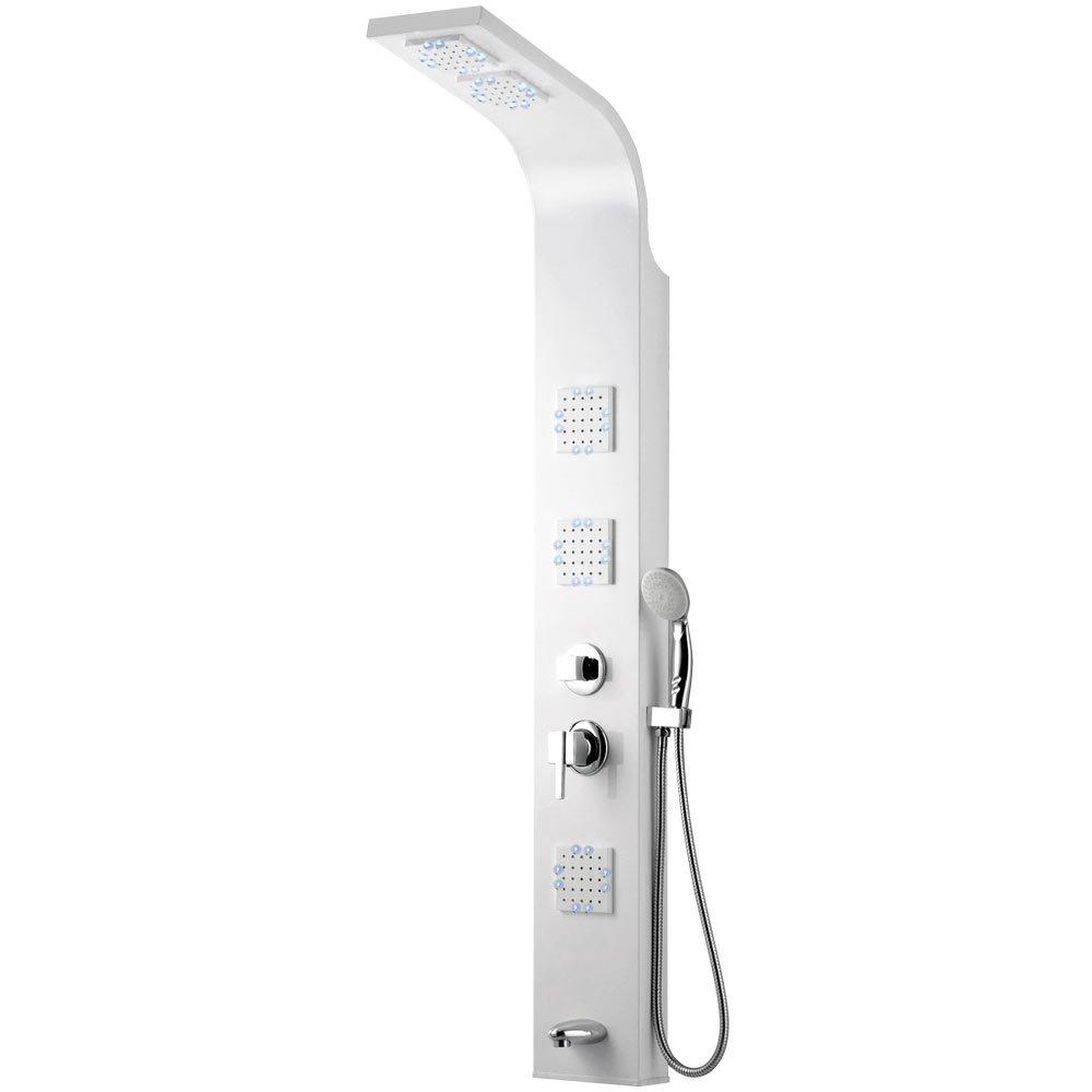 LED Aluminium Colonne de douche Douche de pluie Massage Blanc Baignoire Bec Sanlingo