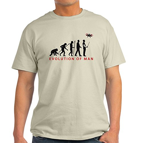 CafePress evolution of man controlling drone model T-Shirt 100% Cotton T-Shirt